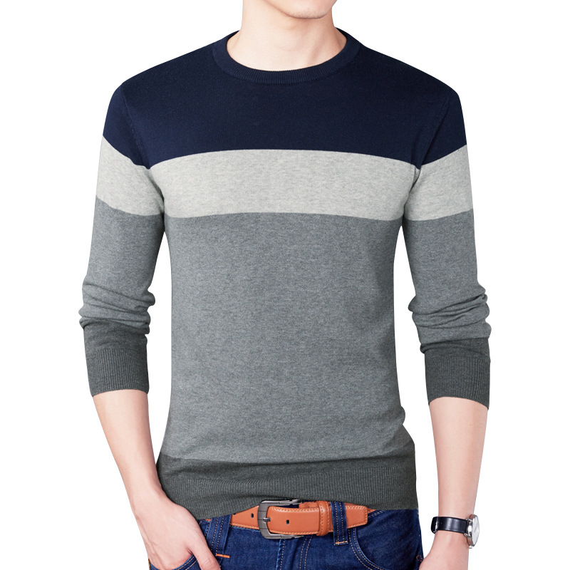 2019 New Casual Pullover Men Spring Round Neck Patchwork Quality Knitted Brand Male Sweaters Plus Size 3XL Mens Sweater 3