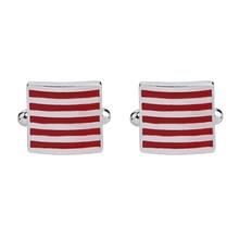 High quality enamel square stripes gold silver black flower cufflinks Top brand mens French shirt