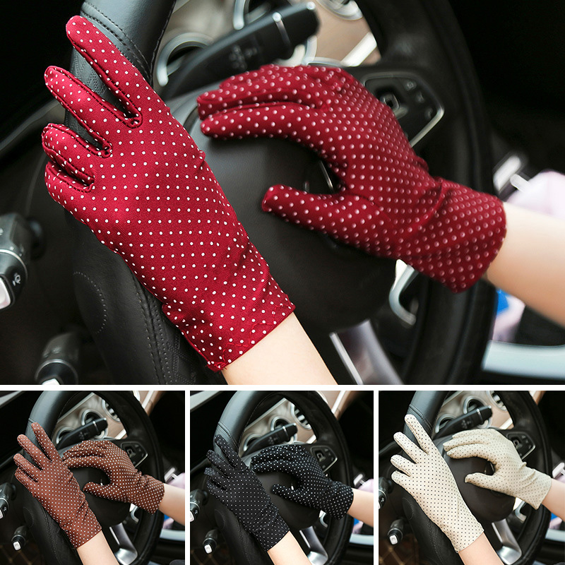 1 Pair Women Sun Protection Wrist Gloves Dot Print Elastic Mittens Lady Gloves Knitted Fabric Vintage Mittens For Drive Shopping