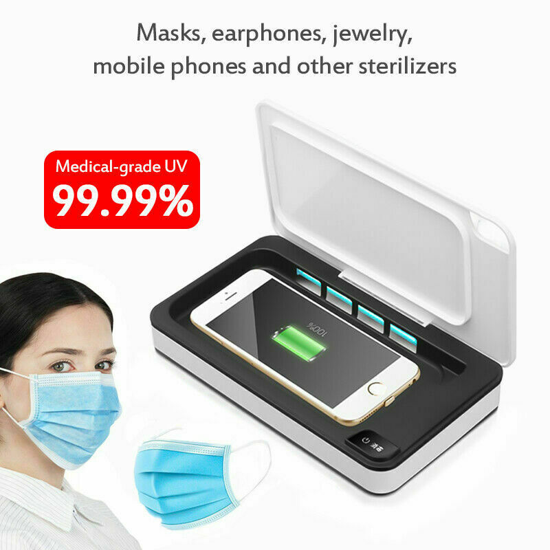 Multifunctional UV Face Mask Phone Sterilizer Box Anti Bacteria Ultraviolet Ray Disinfection For Jewelry Watch Phone Charging