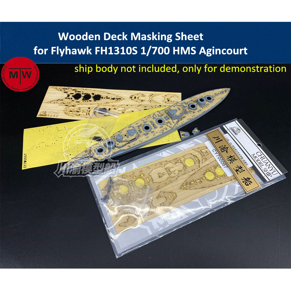 Wooden Deck & Masking Sheet for Flyhawk FH1310S <font><b>1</b></font>/<font><b>700</b></font> <font><b>Scale</b></font> HMS Agincourt Battleship <font><b>Model</b></font> image