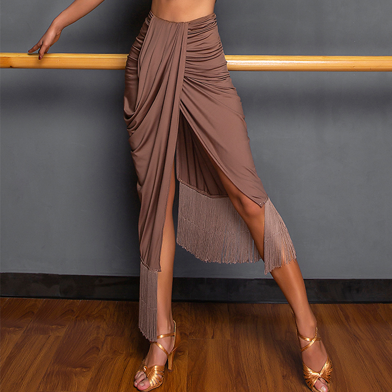 Latin Dance Skirt Lady Sexy Irregular Split Tassel Skirts Show Clothes Tango Salsa Cha Cha Rumba Samba Practice Wear DNV12795
