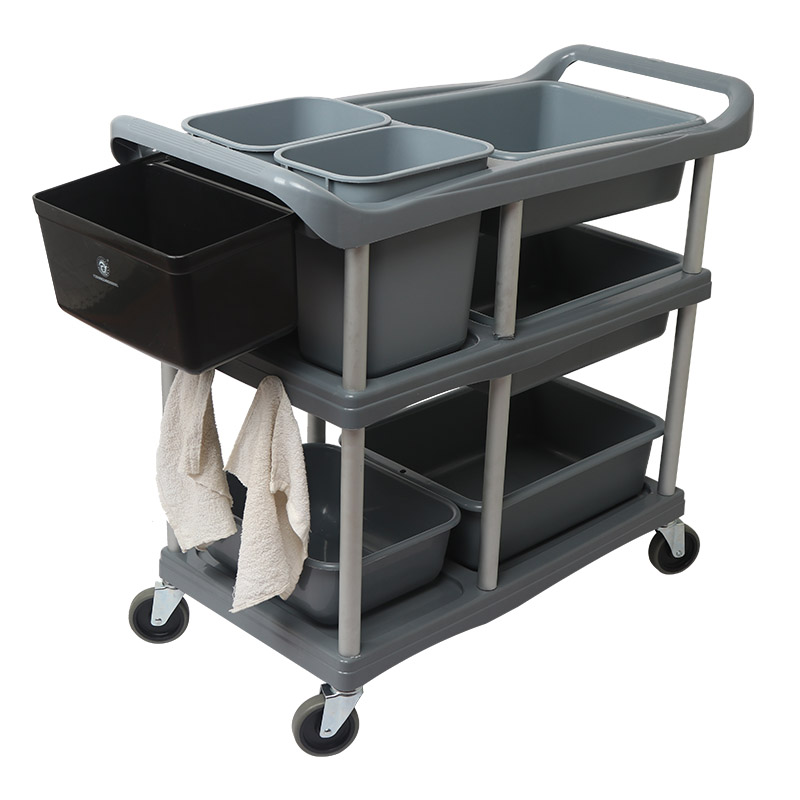 Hotel Dining Car Three-story Cart Collection Car To Collect The Cart With Garbage Can Multi-functional Plastic Restaurant