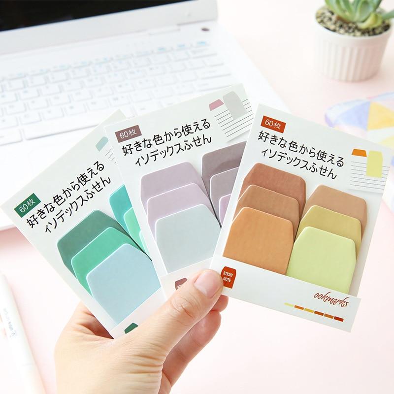 60 blatt/Set Rad von 6 Farben Serie Kawaii Nette Sticky Notes Memo Pad Tagebuch Büro Schule Schreibwaren