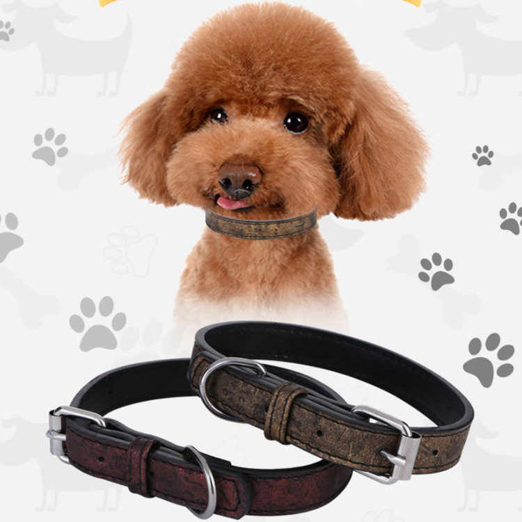 2019 Hot Selling Medium-sized Dog Neck Ring Pu Material Pet Supplies