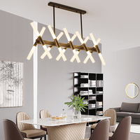 Minimalist Post Modern Black Gold Creative LED Long Branch Chandelier with Acrylic Lampshade for Bedroom Living Room Restaurant