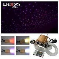 32W RGB LED Optical Fiber Light Engine Fiber Optic Star Ceiling Light Kit 200pcs*0.75mm 200pcs*1.0mm Starry Sky Christmas
