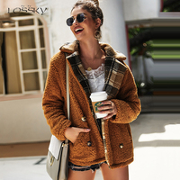 Lossky Jacket Women Long Sleeve Autumn Winter Flannel Warm Clothes Coat New Paid Patchwork Outerwear Female Casual Ladies Jacket