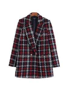 Vadim Plaid Tweed Blazer Coat Pockets Office-Wear Long-Sleeve CA575 Female Elegant Formal
