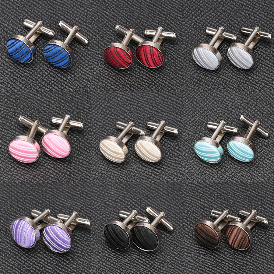 1Pair Mens Cufflinks For Shirt Fashion Wedding Party Men Cufflink Stripe Solid Cloth Round Cufflinks Wholesales Accessories