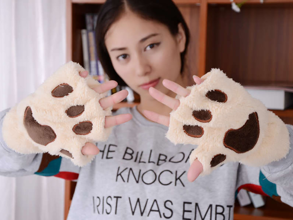1 Pair Lovely Winter Gloves Cute Plush Warm Mittens Cat Paw Short Fingerless Gloves Half Finger Gloves For Women Ladies Girls