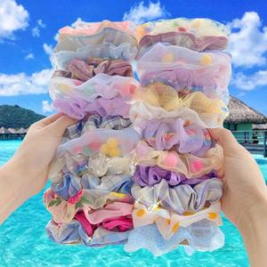 4/3/2/1 PCS/SET Fashion Bow-knot Floral Scrunchies Set For Woman Ponytail Ties Rope Elastic Hair Bands Korean Hair Accessories