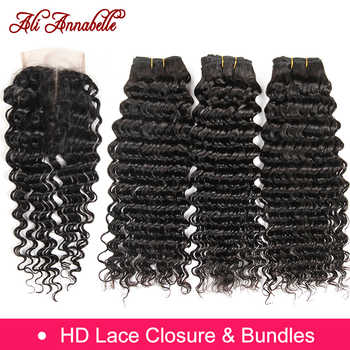 ALI ANNABELLE HAIR Human Hair Bundles With Closure Remy Hair 3 Bundles Brazilian Deep Wave Human Hair with HD Lace Closure - DISCOUNT ITEM  48% OFF All Category