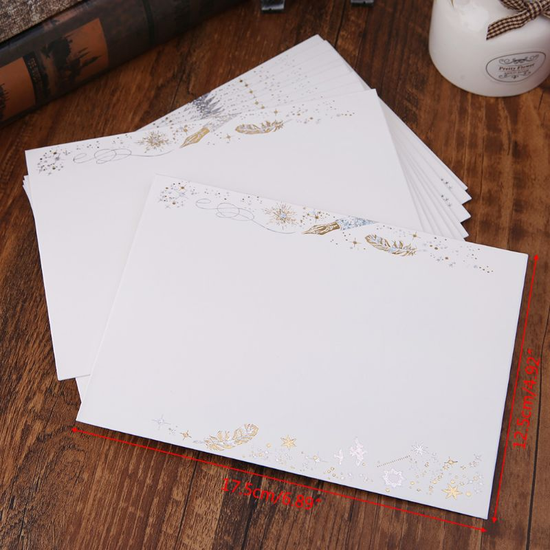 10pcs Creative Bronzing Feather Envelope For Wedding Invitation Cards Gifts Stationery Letter L41E