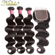 Бразильские волнистые пряди для волос Nadula, с закрытием, 4*4, на шнуровке, бразильские волнистые пряди, с закрытием, Черная пятница