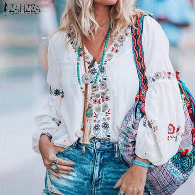 Summer Tunic Tops ZANZEA Fashion V Neck Long Sleeve Blouse Bohemian Floral Printed Blusas Casual Vintage Party Shirt Robe Femme