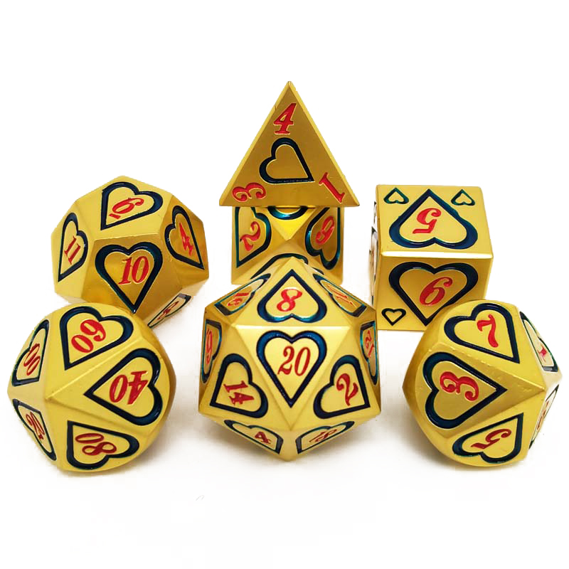 2020 New DnD <font><b>Metal</b></font> Dice RPG MTG Dice Include Dice Pouch A Variety of Colors D4 D6 D8 D10 D12 <font><b>D20</b></font> Heart style <font><b>metal</b></font> dice image