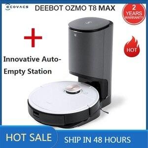 2020 ecovacs deebot ozmo t8 max com inovador auto-vazio estação varrendo e limpar robô aspirador de pó app controle remoto