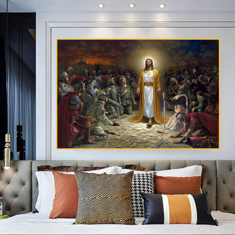 Christian Jesus Saves the World Wall Art Canvas Painting Figure Wall Art Prints Pictures For Church Living Room Home Decoration(China)
