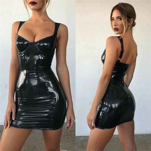2021 Gothic Women Bodycon Dress PU Leather Autumn Winter  Vestido High Waist Sleeveless Sexy Mini Dress Women Clothing 3