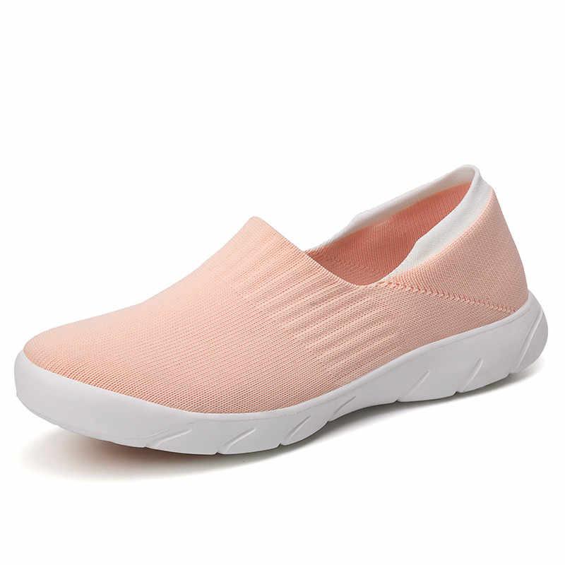 PINSEN 2020 가을 운동화 여성 플랫 슈즈 편안한 캐주얼 양말 신발 여성 슬립 온 발레리나 플랫 슈즈 zapatillas mujer