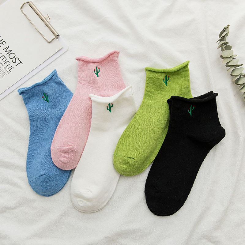Korean Trend Female Socks Cotton Embroidery Green Cactus Curl Female Socks In Tube Socks