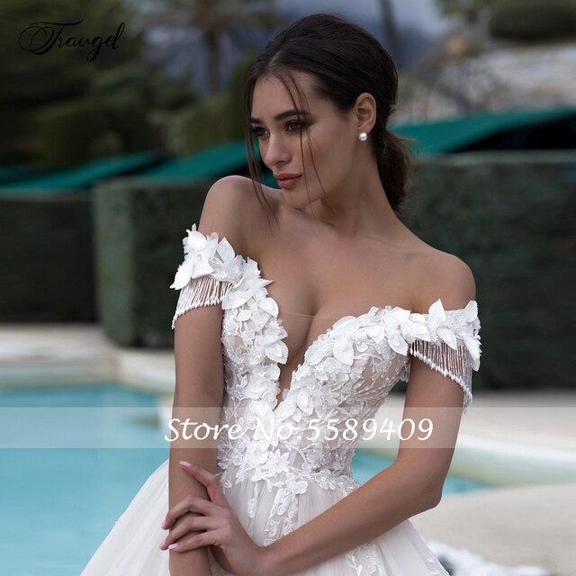 Traugel Off The Shoulder A Line Lace Wedding Dresses Elegant Appliques Lace Up Bride Dress Cathedral Train Bridal Gown Plus Size 3