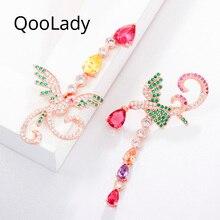 QooLady Elegant Asymmetric Phoenix Design Multicolor Water Drop Cubic Zirconia Rose Gold Color Long Party Earring for Women E015