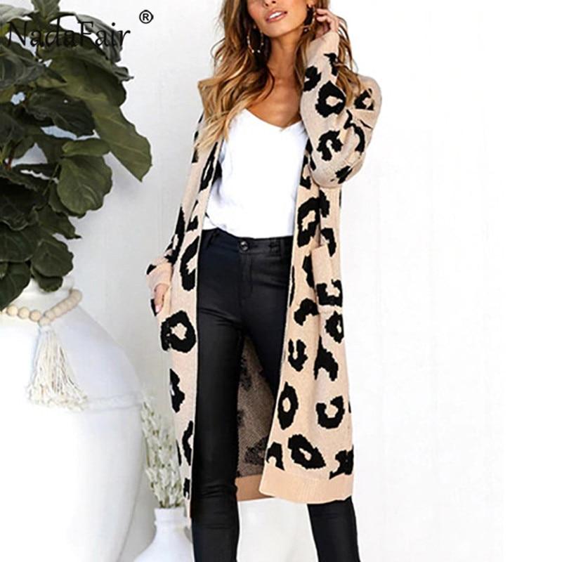 Nadafair Long Knitted Leopard Cardigan Women Plus Size Casual Knit Winter Oversized Cardigan Sweater Autumn Coat Pull Femme