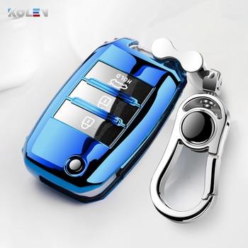 цена на Soft TPU Full Cover Car Remote Key Case Keychain For KIA K2 K3 K4 K5 Rio QL Ceed Sorento Cerato Sportage Auto Key Shell Holder