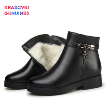 Krasovki Genuines Wool Women Snow Boots Warm Genuine Leather Fur Warm Shoes Plush Ankle Boots Platform for Women Winter Boots герасименко а справочник начинающего электрогазосварщика