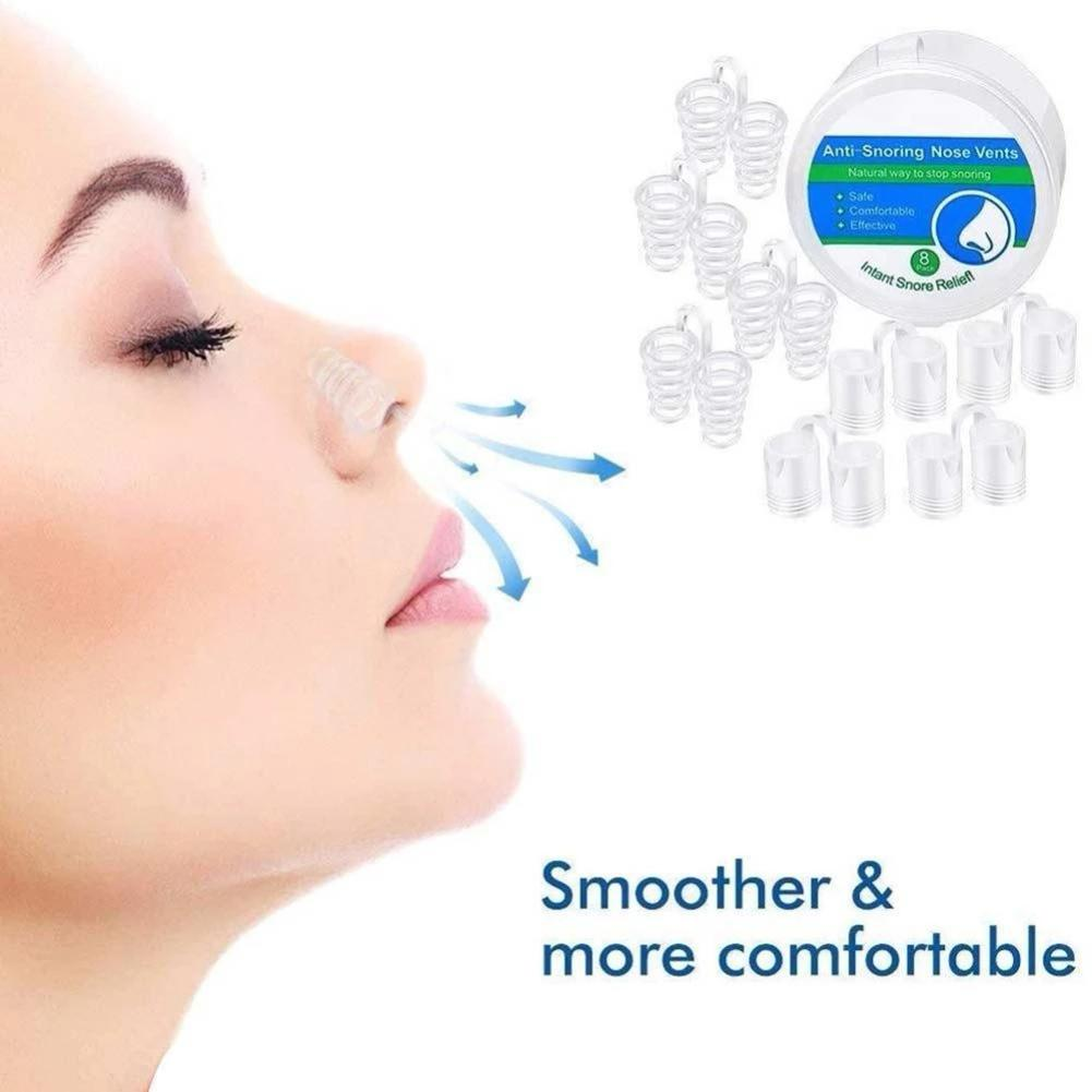 8PCS Silicone Magnetic Anti Snoring Nose Breathing Snore Stopper Antisnoring Device For Sleeping Apnea Deviced With 4 Sizes