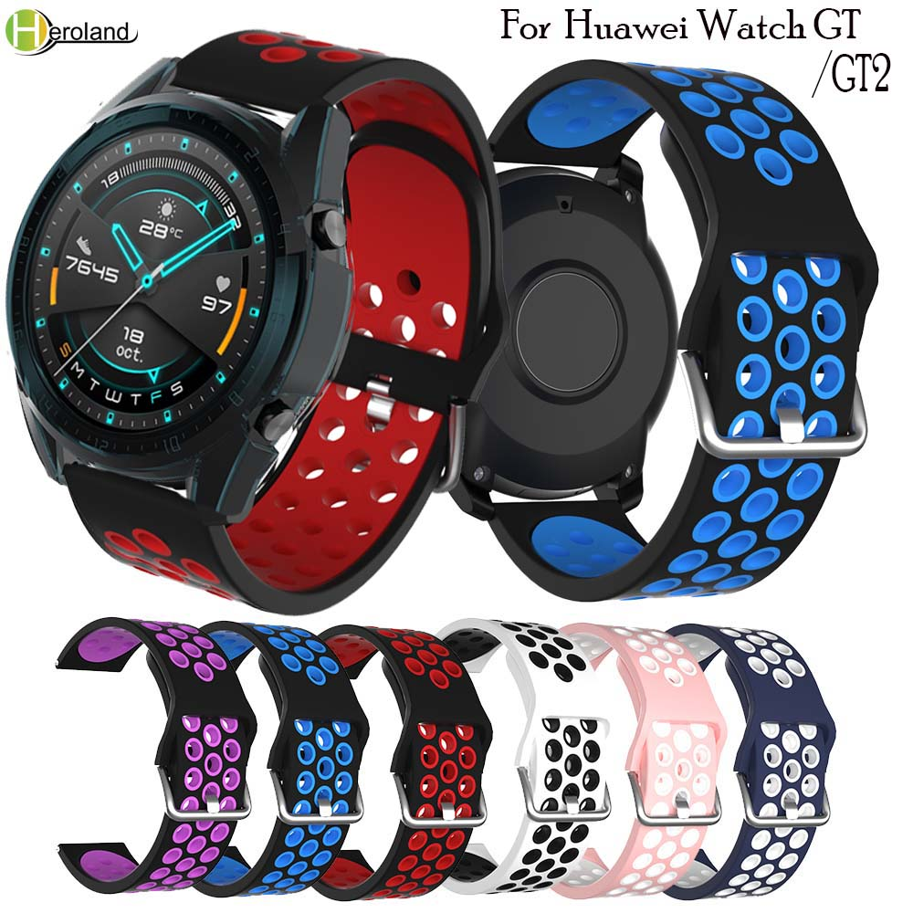 22MM Silicone Watchband Strap For Huawei Watch GT GT2 42mm 46mm Active Elegant Sport Replacement Smart Accessories Wriststrap