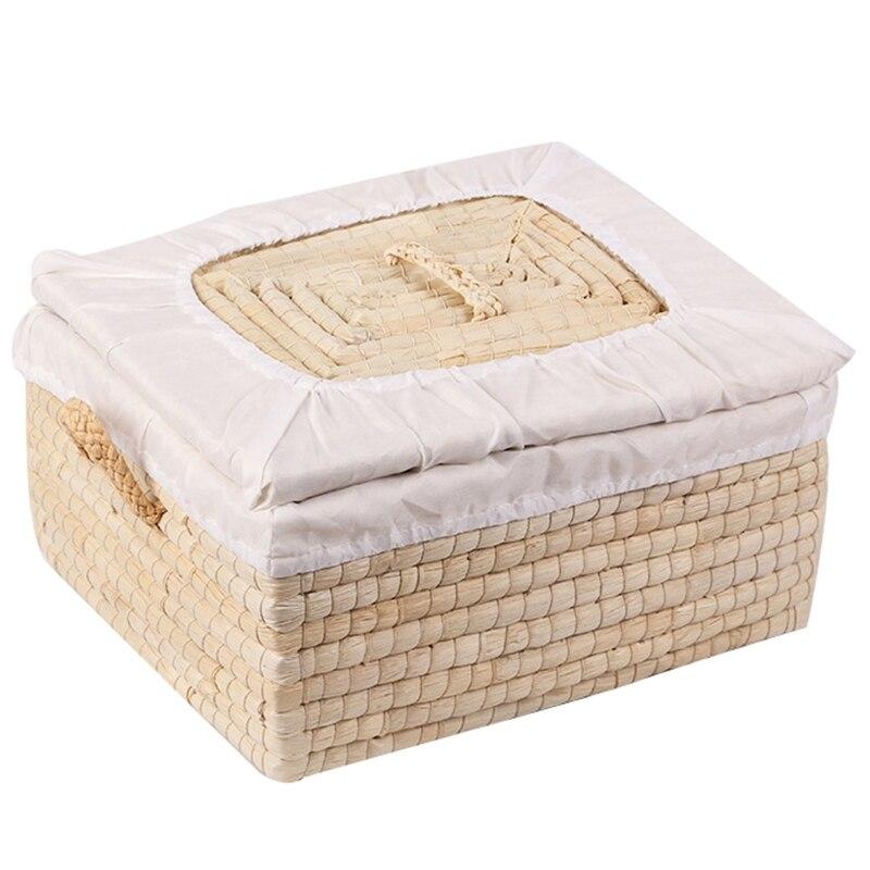 Straw Woven Storage Basket Handmade Woven Basket Rustic Natural Bread Buns Food Storage Decorative Box Multifunctional Square