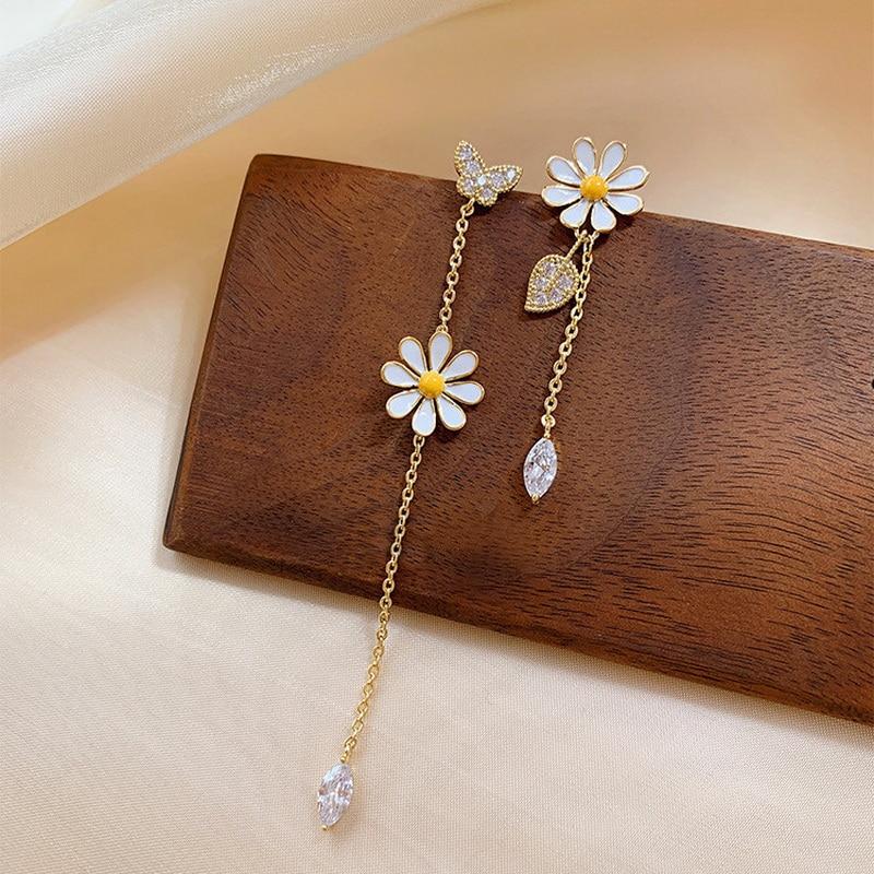 Long Daisy Flower Earrings For Women Asymmetrical Delicate Flower Style Earring Girls Sweet Jewelry Gift