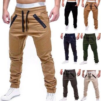 New Casual Solid Pants Full Length Cargo Pants Plus Size XxxL Men Baggy Cargo Pants Mid Waist Trousers Men Streetwear