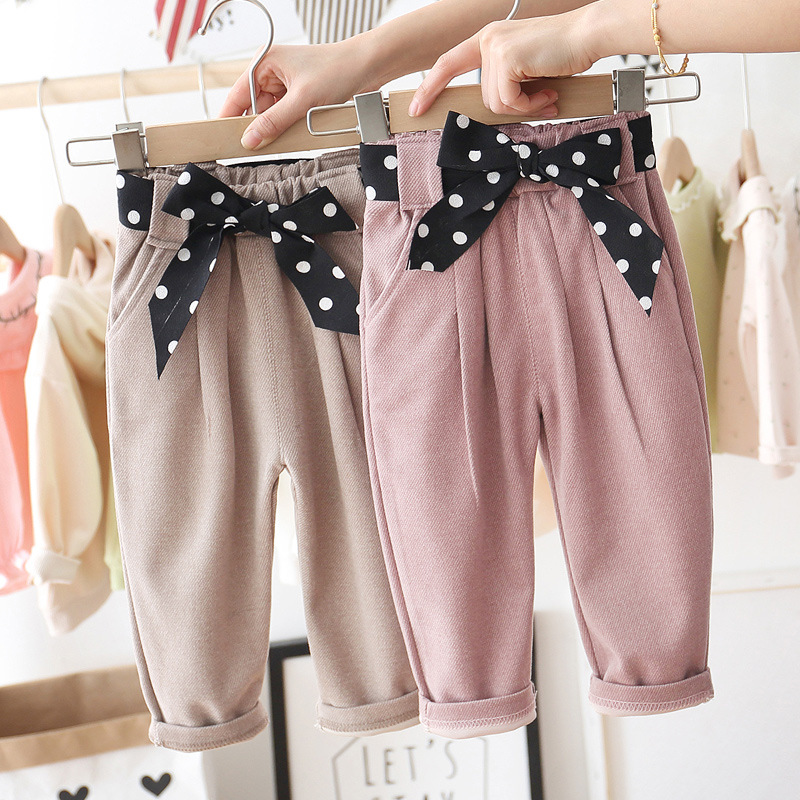 Baby Girls Cute Pants New Babies Cotton Bow Trousers Children Spring  Autumn Loose Casual  Princess Pants Kids