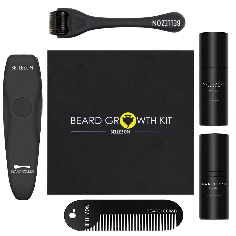 Bellezon Beard Growth Kit Hair Growth Enhancer Thicker Oil Nourishing Essence Leave-in Conditioner Beard Care with Comb 1