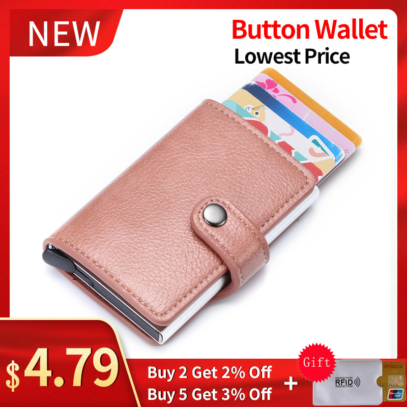 BISI GORO 2020 New Fashion Women Button Wallet Pink RFID Blocking Wallet Pop-Up Security Card Case Slim Anti-theft ID Holder