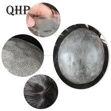 Toupet – perruque indienne Remy pour homme, cheveux naturels, peau fine transparente, faite à la main, 0.04-0.06mm, 6 pouces