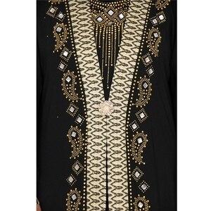 Image 3 - Dubai árabe islam abaya muçulmano vestido longo lantejoulas miçangas kaftan robes elegante splice maxi vestidos roupas islâmicas caftan