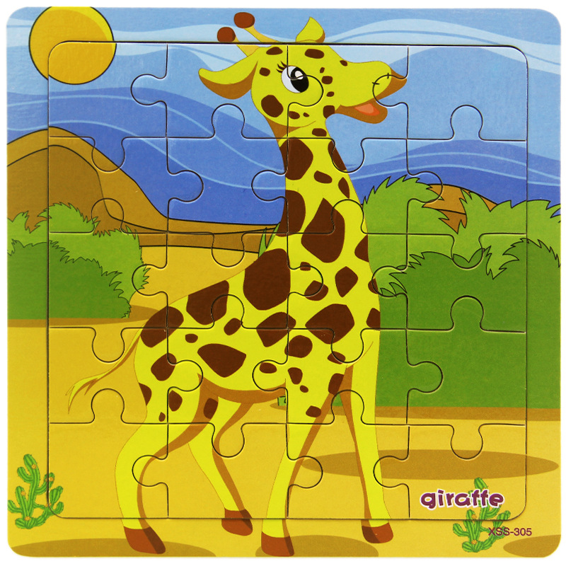 Hot New Product Cartoon Wooden Puzzle ChildrenJungle Animal Lion Giraffe Jigsaw Toy Baby Early Educational Toys For Kids Game