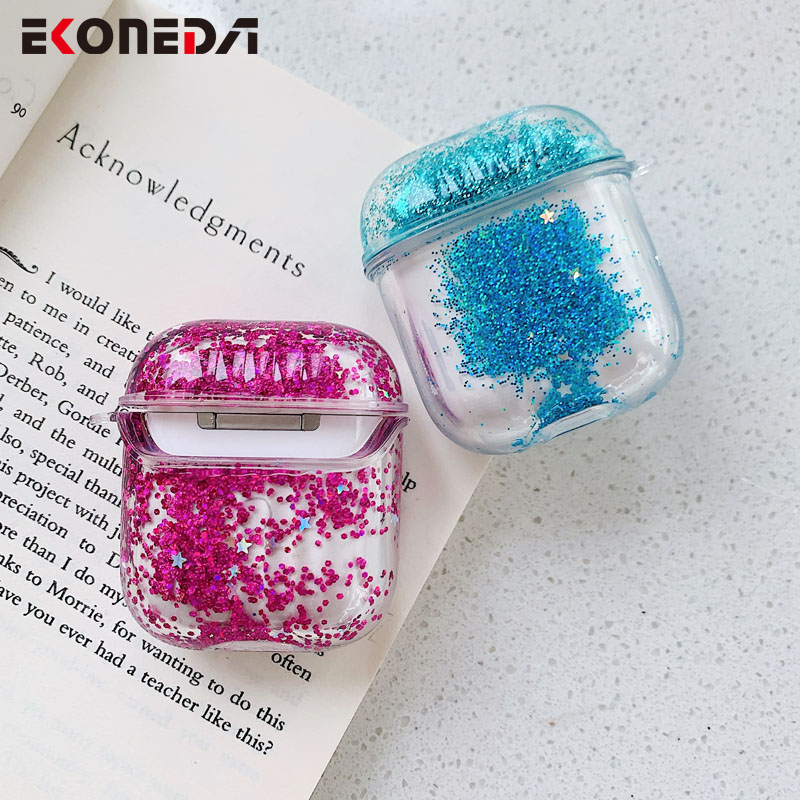 EKONEDA Luxury Dynamic Silicone Case For Airpods Case Glitter Bling Liquid Protective Shell For Airpod 2 Case Cover
