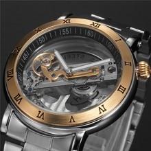 цена на Top Luxury Automatic Mechanical watch men Brand hollow skeleton  leather Stainless steel fashion Steampunk self wind waterproof