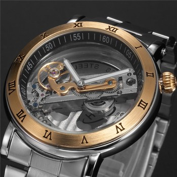 цена на Top Luxury Automatic Mechanical watch men Brand hollow skeleton  leather Stainless steel fashion Steampunk self wind waterproof