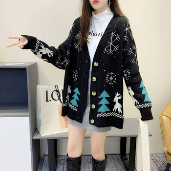 Cardigan Sweater Women Long Sleeve Knitted Christmas Sweater Cardigan Loose Women Sweaters Plus Size Women's Jumper 2020 long cardigan women sweater autumn winter bat sleeve knitted sweater plus size jacket loose ladies sweaters cardigans