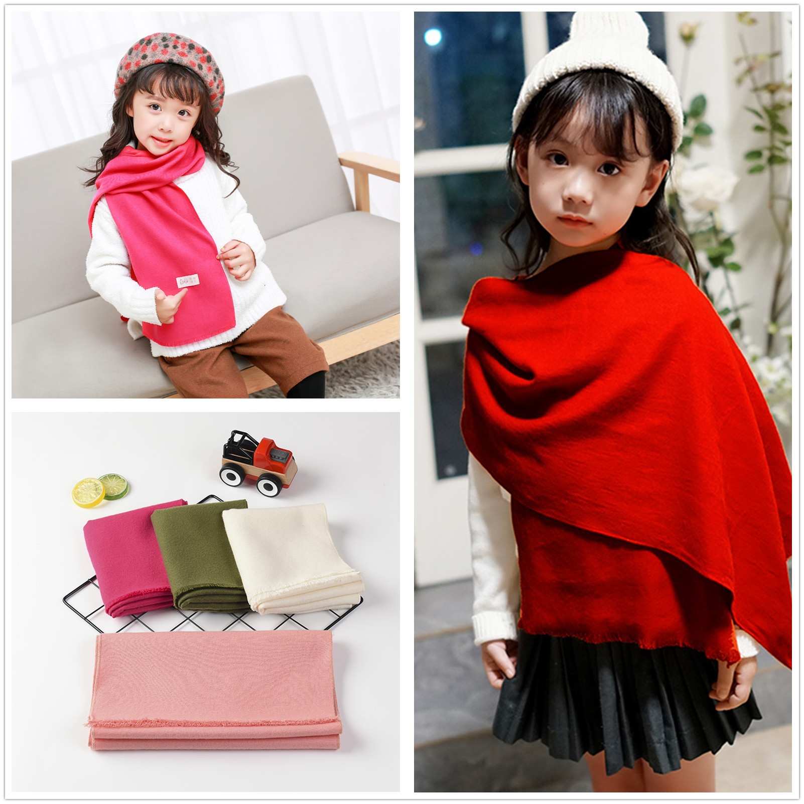 2018 New Style Simple Versatile CHILDREN'S Scarf Autumn & Winter Solid Color Warming Scarf Korean-style BOY'S Girls Knit