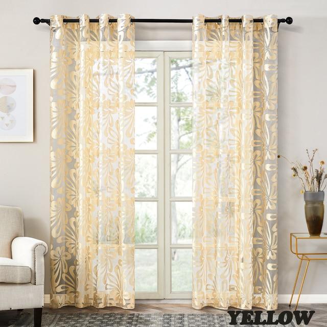 Geometric Embroidered Modern Window Curtain 4