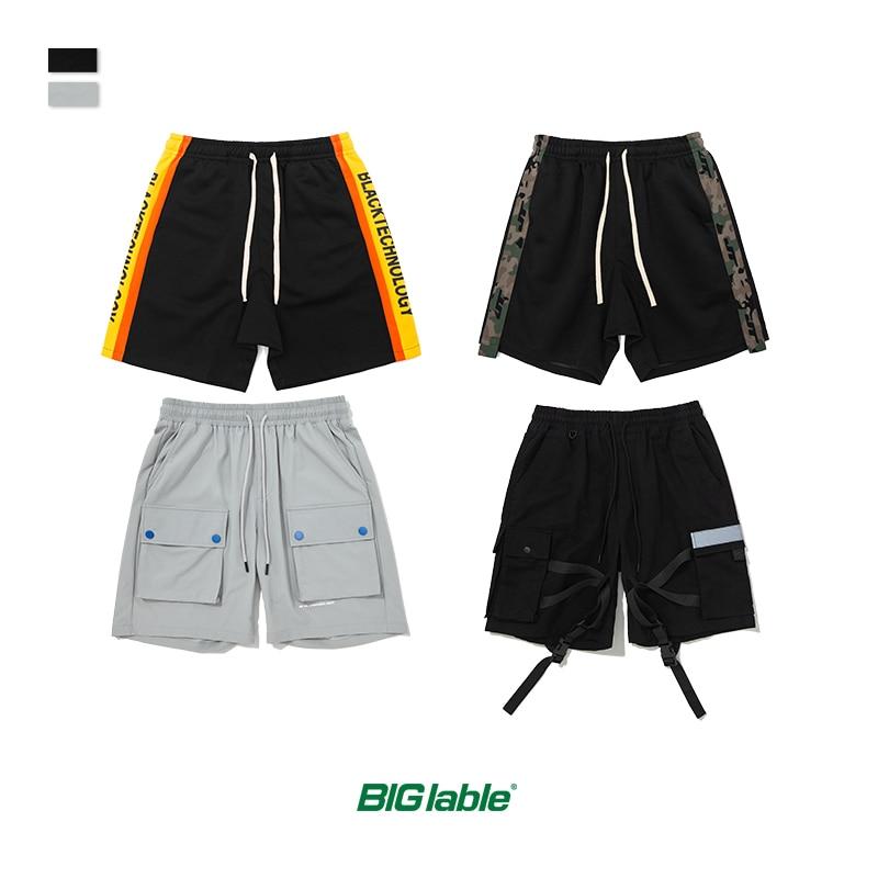 BIG LABLE Mens Sportswear Shorts Stripe Side Contrast Color Men Shorts Letter Printing Highstreet Vintage Men Streetwear Shorts