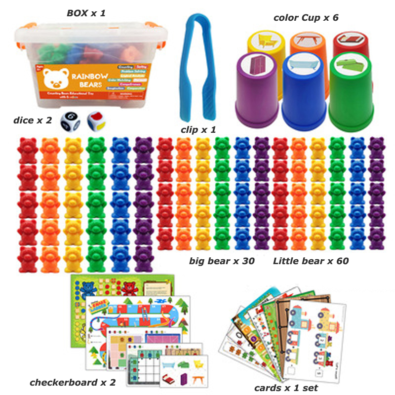 Educational Montessori Toys Box Rainbow Stack Cups Counting Bears Color Weights Sensory Toys Baby Early education Toys Games